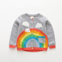 New Rainbow Children Knitwear Autumn Winter Fashion 2018 Baby Girl Clothes Outerwear Kids Pullover Tops Girls Sweaters