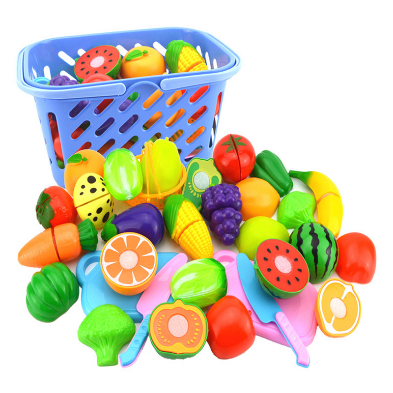 New Diy Set Colorful Plastic Kitchen Pretend Play Food Fruit Vegetable Cutting Toy For Kid Educational Toy Play House Model Toy