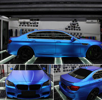 Синий Премиум атласная Матовый Металлик хром винил автомобиля Обёрточная бумага Стикеры фильм пузырьков 5ft x 49.2ft