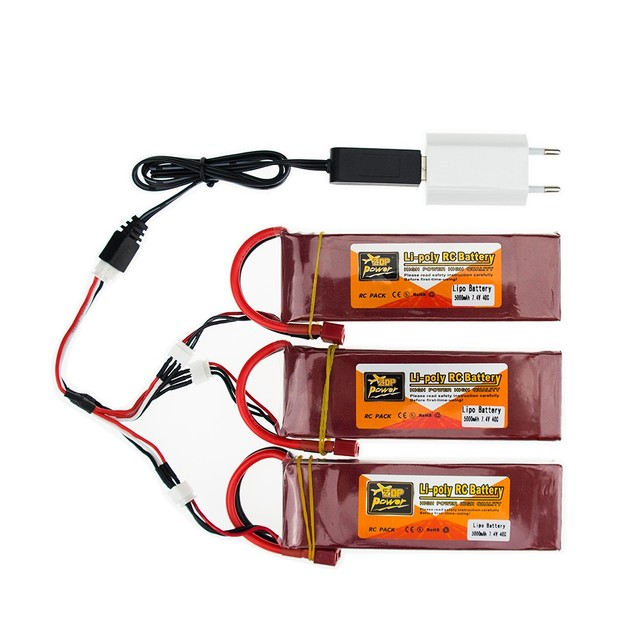 3X RC Drone Batteria 5000mah Lipo 7.4 V Battery 40C XT60 T Plug 2S With USB Charger 3in1 Cable Set For RC Airplane Quadcopter