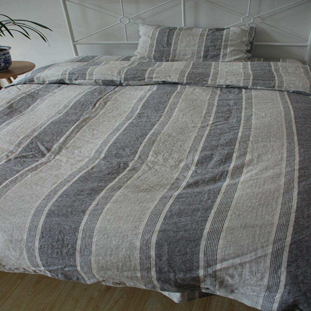 aliexpresscom  buy  striped gray linen duvet cover set king  - aliexpresscom  buy  striped gray linen duvet cover set king size purelinen bedding sets bed sheet sheets shams pcs christmas from reliablebedding