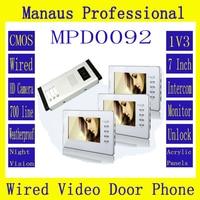 Newest Professional Apartment Smart Home 7 LED Screen Video Intercom Phone One To Three Video Doorphone