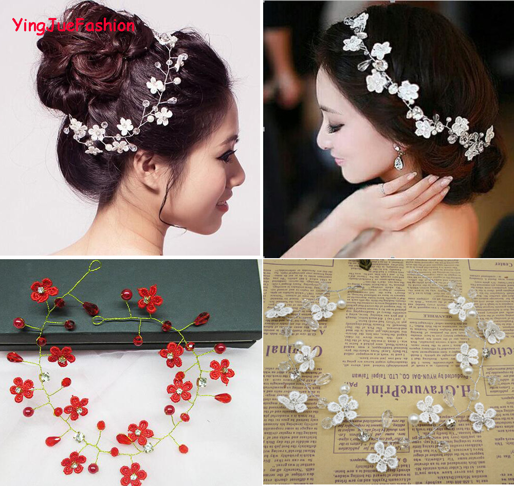 yingjuefashion handmade lace flower wedding tiara rhinestone