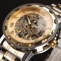 핫 새로운 패션 해골 블랙 스틸 남성 남성 시계 sewor 브랜드 중공 멋진 세련된 디자인 클래식 기계 손목 시계 드레