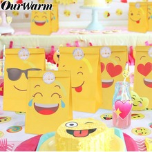 цена на OurWarm 60pcs Emoji Party Cartoon Emoji Smiley Paper Bags with Emoji Stickers Children Birthday Party Gift Bags Supplies Smile