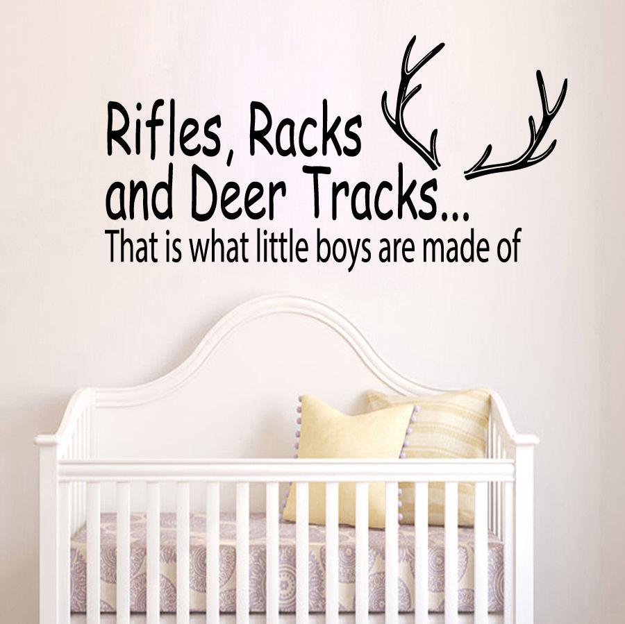 online get cheap wall decals quotes hunting aliexpress com 57x30cm wall decal quote rifles racks and deer tracks hunting vinyl sticker boys nursery decor art