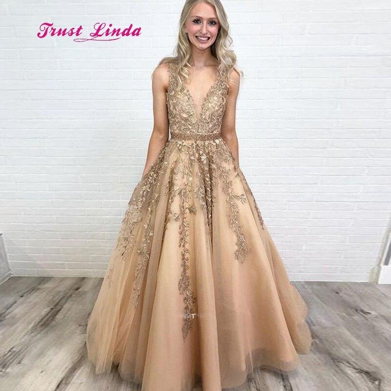 81c2264a0c275 Vestidos De Festa Longo Prom Dress 2019 Appliqued Deep V Neck A Line  Champagne Graduation Dresses Long Prom Dress-in Prom Dresses from Weddings  & ...