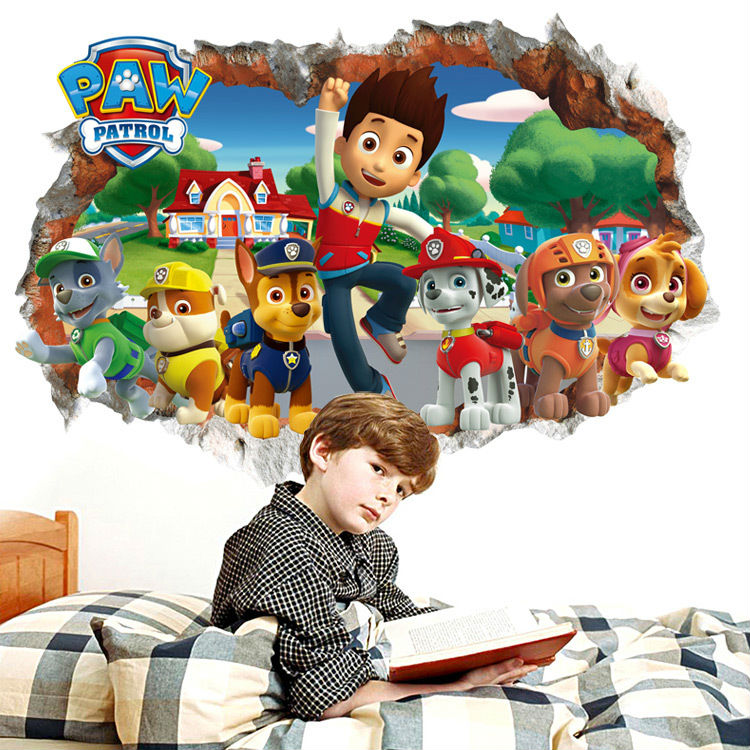 New 3d Cute Cartoon Dogs Paw Patrol Snow Slide Wall Stickers Home Decor For Kids Living