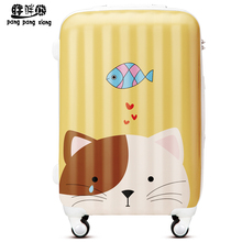 Cartoon cat luggage travel bag trolley luggage universal wheels password box luggage ty,wholesale 20 24 28 abs pc luggage bags