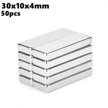 Strong Block Neodymium Magnets 30x10x4mm N35 Rare Earth NdFeB 50pcs 30x10x4 Super Powerful Magnetic Bar Magnet