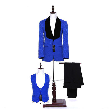 Blue Floral Lapel Single-breasted Men's Business Office Professional Set and Men's Prom Dress (Jacket + Pants + Vest) Custom