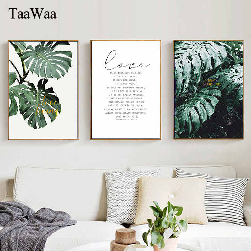 Green Tropical Palm Plant Leaves Wall Art Canvas Posters Quotes Prints Nordic Painting Picture for Living Room Home Decoration