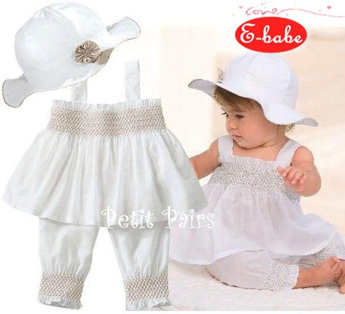 & E-בייב & סיטונאי סטי בגדי קיץ תינוקות בנות נסיכת מסיבת יופי שמלות + כובע + מכנסיים FreeShipping