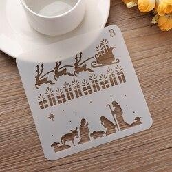 1 Pc Weihnachten DIY Handwerk Hohl Schichtung Schablonen Für Wand Malerei Scrapbooking Stempel Album Dekorative Präge Papier Karte #8