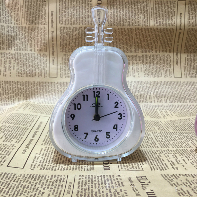 #a Violin Modern Clocks Originality Turn Alarm Clock Simple Circular Bedroom  Desk Table Clock Living Room Decoration Candy