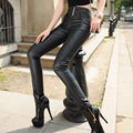 Brand New 2016 Women PU Pants Casual Faux Leather Slim Elastic Bodycon High Waist Pants Plus Size 5XL Black Trousers MYNZ65
