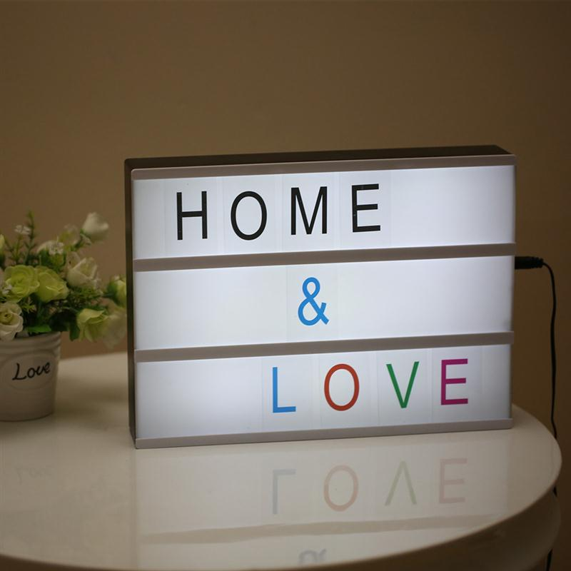 Modern Cinematic Lightbox Table Lamp DIY With Letters Number A4 Size LED Lamp Battery USB Powered Cinema Desk Night Light Box 2018 new led combination light box night lights lamp diy black and white letters cards usb port powered cinema lightbox letters