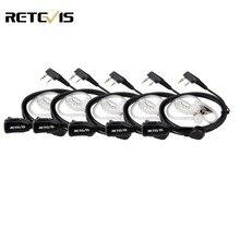 5 قطعة Retevis PTT Mic الهواء سماعة أذن صوتية بأنبوب اسلكية تخاطب سماعة ل كينوود Baofeng UV 5R Retevis H777 RT22 RT80 C9003