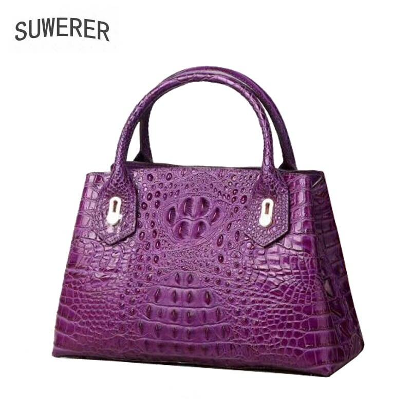 Mode New Supérieure De Crocodile 2019 Cuir Vachette Modèle Purple En Dbags Couleur Relief Luxe 3 red Handangs Véritable black Suwerer Femmes w4Pxxq