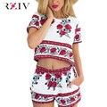 RZIV женщин костюм комплект 2016 лето женская мода сексуальная печать костюм