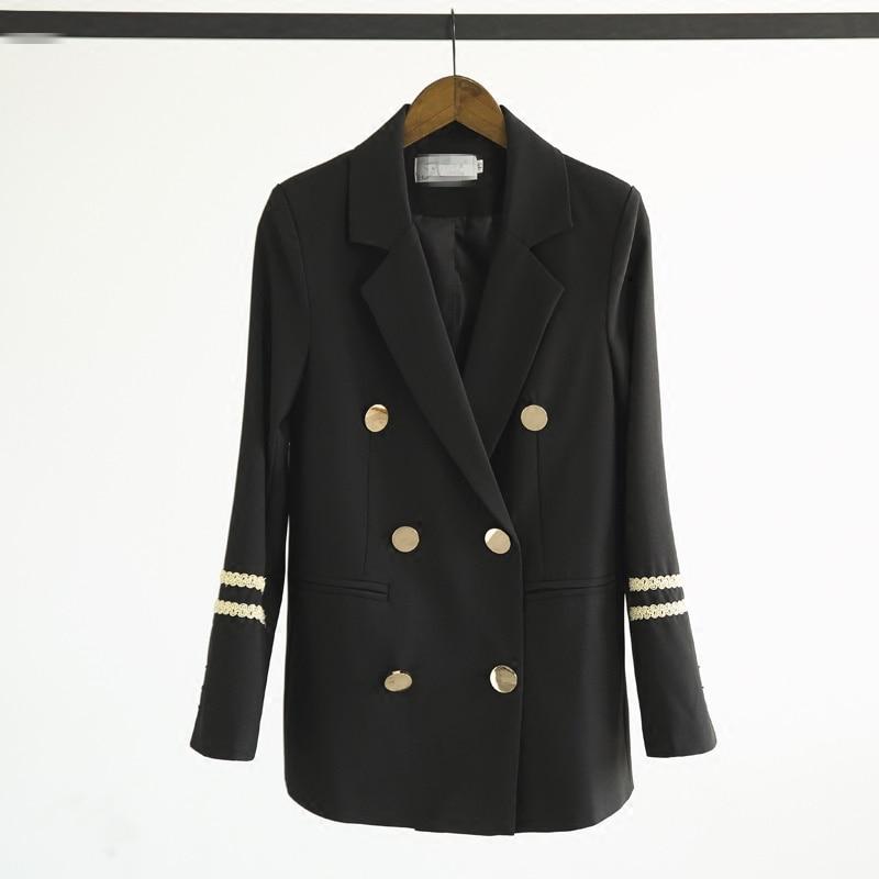 Coréenne Nouvelle Marine Broderie À Mode Costume Vestes Noir Blazer Printemps Z396 Manteaux Femme Grande Bleu La Black Automne 2018 Femmes Taille Blazers tqnzEw
