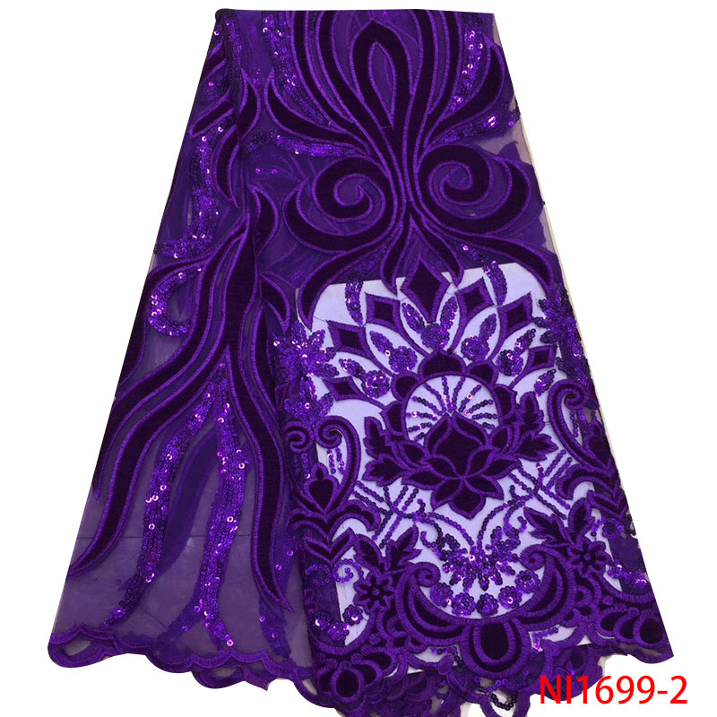 Purple Velvet Lace with Sequins African French Tulle Lace Fabric New Arrival Sequins Lace Fabrics for