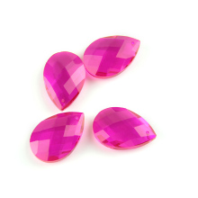 50pcs Crystal Glass Almond Prism Chandelier Parts 38mm Rose Color For Wedding Decor Pendant Suncatcher