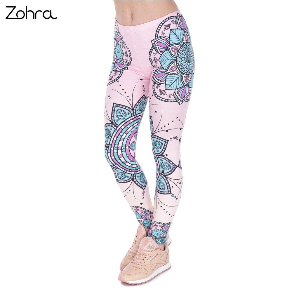 Zohra Moda Kadın Legins Mandala Çiçek 3D Baskı Legging Silm - Bayan Giyimi - Fotoğraf 2