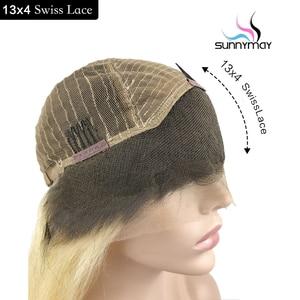 Image 2 - Sunnymay 13x4 Ombre Lace Front perruque de cheveux humains avec des cheveux de bébé personnalisé 27/613 Remy perruque droite 130% pré arraché avant de lacet perruques