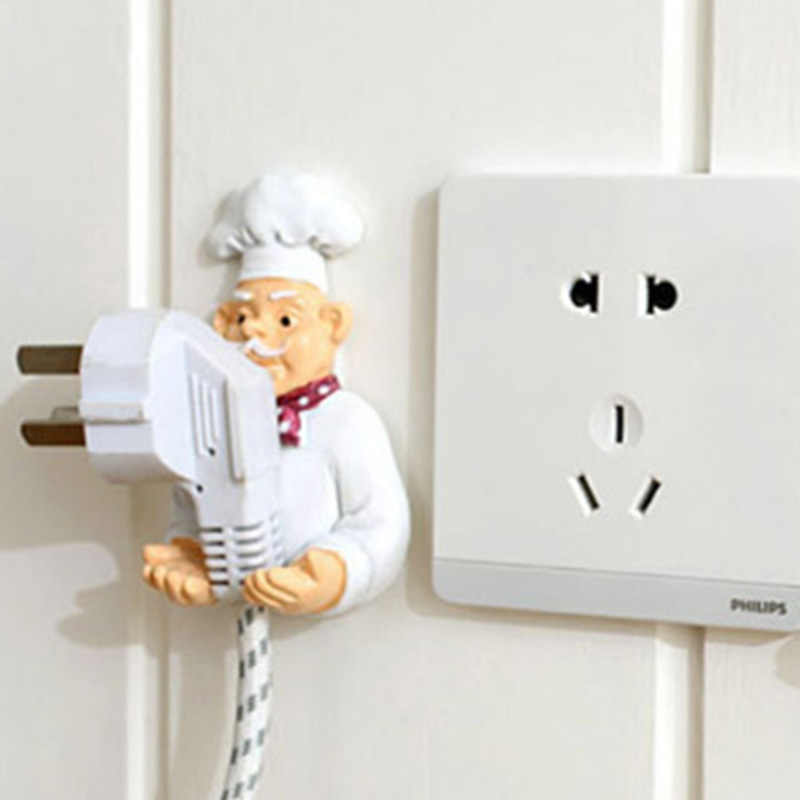 Cute DIY Cook Design Power Plug Socket Storage Rack Wall Mounted Adhesive Hook Hanger Organizer Kitchen Accessories Plug Holders