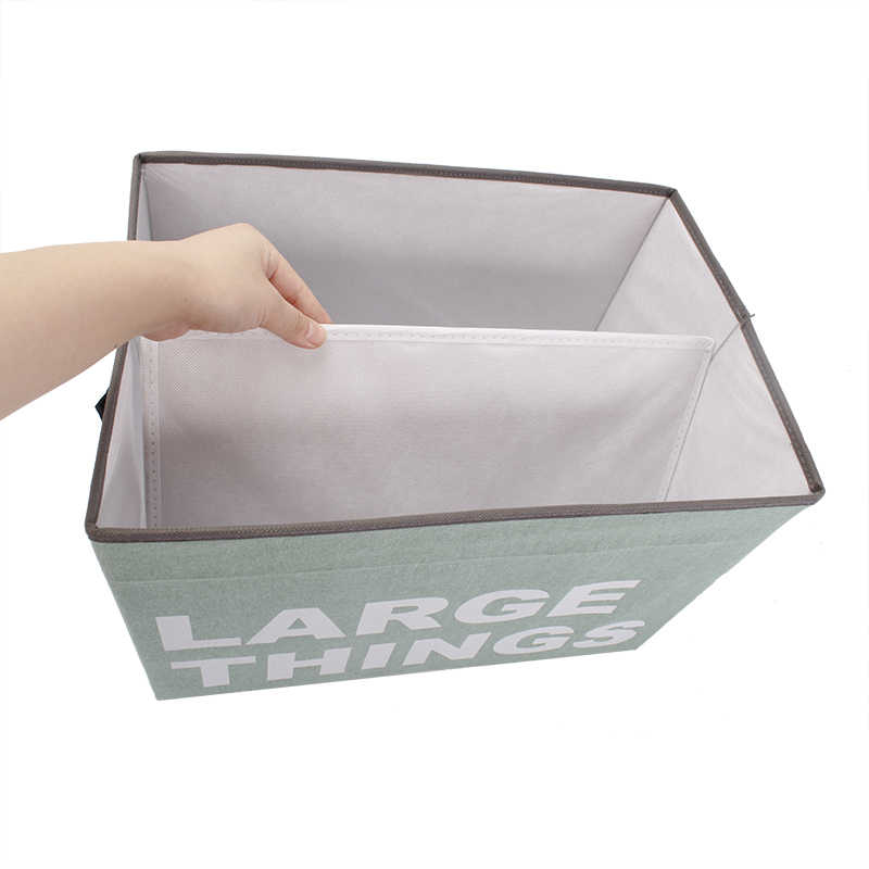 Cotton and linen storage box folding art printing letter storage box with  lid clothes storage box
