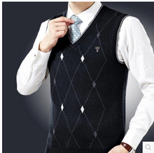 Men Sweater Vest Diamond Argyle Pattern 2016 New Arrivals V-Neck 100% Cotton Free Shipping