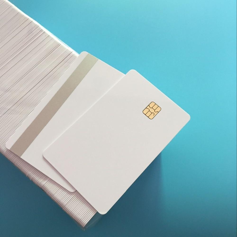 ISO7816 SLE4442 Small Chip - 2 Track Hi CO Sliver Magnetic Stripe Smart Chip PVC Composite Card 200PCS