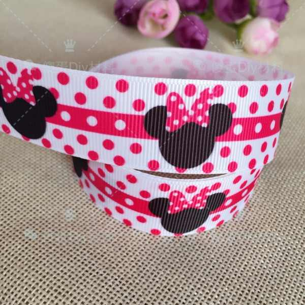 "1 ""25MM new sales 10 yard slove Minnie cartoon animals printed grosgrain ribbon cartoon ribbons cloth tape hair accessories 366"