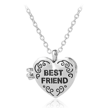 Matching Heart Friend Photo Picture Frame Locket BFF Best Friends Forever Engraved Pendant Necklace