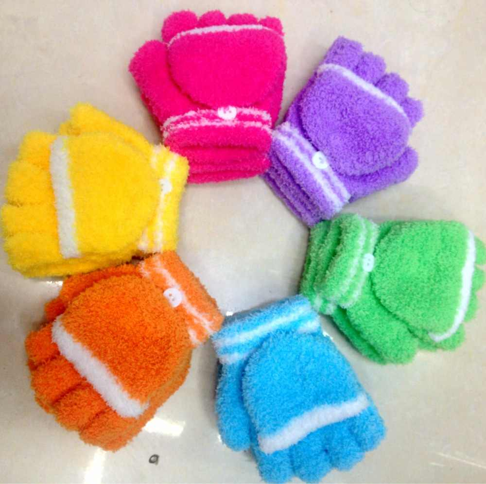 New children's children's student gloves half finger with cover coral fleece warm thick computer writing gloves