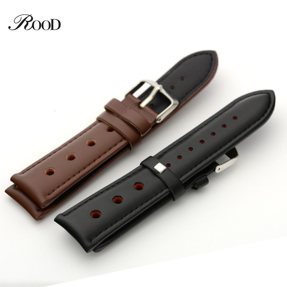 Watch Band 24mm Durable Men Leather Watch Belt Stainless Steel Buckle Black and Brown Men's Sport Leather Hand Watch Strap vik max adult kids dark blue leather figure skate shoes with aluminium alloy frame and stainless steel ice blade