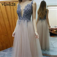 Glitter Beaded Crystal Evening Dresses Long 2019 A Line V Neck Backless Tulle Saudi Arabic Women Formal Prom Gown Party Dress