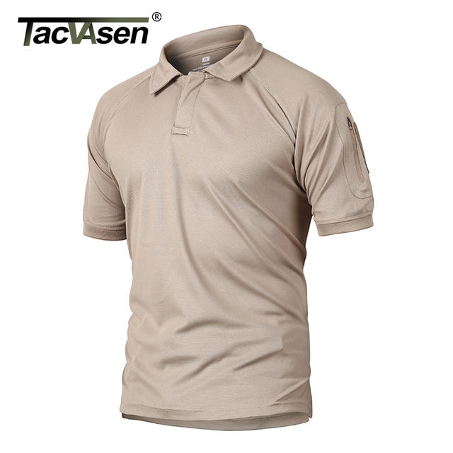 TACVASEN Summer T-shirts Golf Polos Men's Tactical Clothing Quick Dry Mesh Fabric Army Performance Airsoft Tee Shirts Tops Male 4