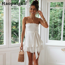 Sexy Jumpsuits Women Vintage Cotton Linen Strapless Sleeveless Playsuits Female Casual Backless Overalls Belt Summer Trousers