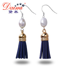 DMEFP176 Leather Tassels Earrings Pearl Earrings 9-10mm White Baroque Pearl Silver Earrings(China)