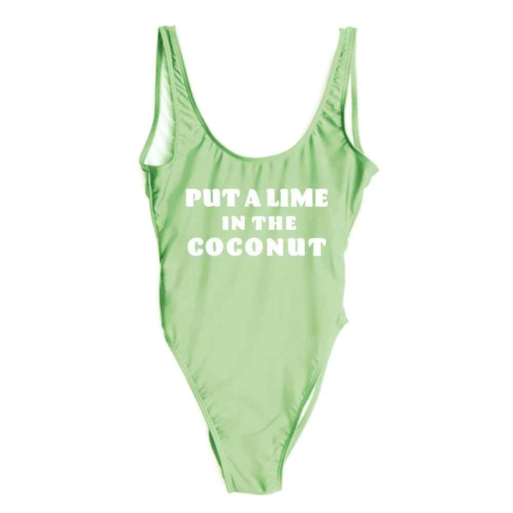 Положите лайм в кокосовый светло-зеленый красивый женский модный трикотажное нижнее белье цельный купальный костюм Пляжная одежда комбинезон
