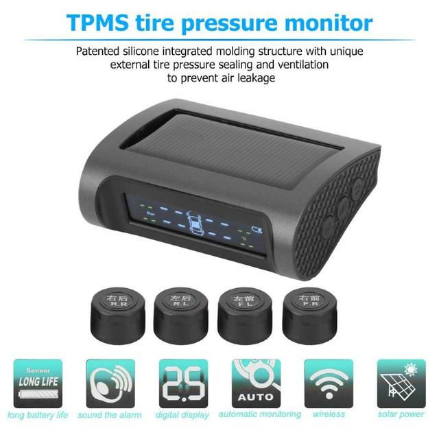 LCD Solar TPMS Wireless Car Tire Pressure Monitoring System with External /Internal  Sensors