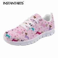 INSTANTARTS New Women Flats Shoes Air Mesh Casual Shoes 3D Cute Fox Terrier Dog Print Autumn Sneakers Breathable Walk Footwear