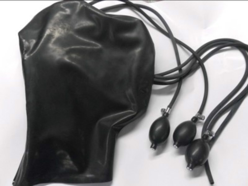 Inflatable Latex Hood Mask Full Face for Male and Female sex toys for couples bdsm sex