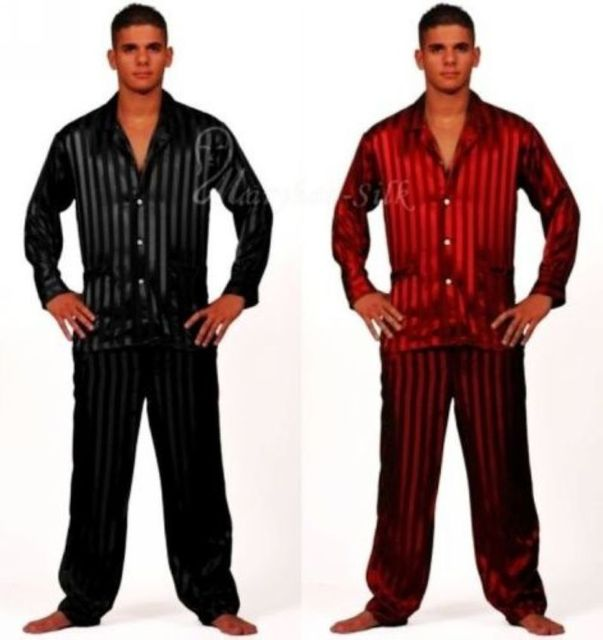 Mens Silk Satin Pajamas Set  Pajama Pyjamas  Set  Sleepwear Set  Loungewear S,M,L,XL,2XL,3XL,4XL  Plus  Striped Black