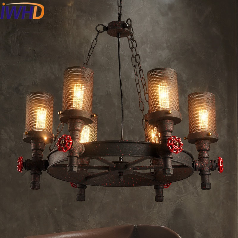 IWHD Water Pipe Lamparas Style Loft Industrial Lamp Iron Retro Pendant Light Bedroom Bar Restaurant Pending Lighting Fixtures edison loft style vintage light industrial retro pendant lamp light e27 iron restaurant bar counter hanging chandeliers lamp