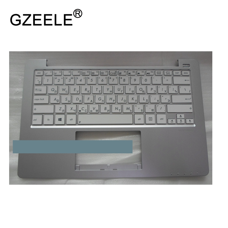 GZEELE new Russian laptop keyboard For ASUS X201 X201E RU Palmrest Cover upper case x202e Q200 Q200E silver keyboard bezel top C