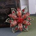 De resina de ouro antigo do Vintage de strass vermelho flor de noiva colar de lenço de Hijab pinos