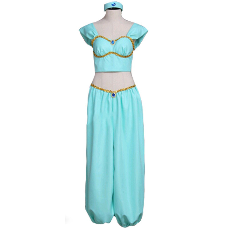 Aladdin Princess Jasmine Dress Outfit Costume Halloween Carnival Party Dress Costumes Custom Made